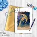 Születésnapi Képeslap, Vintage Képeslap, Szülinapi lap, Szülinapi üdvözlőlap, Vintage üdvözlőlap, Névnap, Naptár, képeslap, album, Képzőművészet, Képeslap, levélpapír, Ajándékkísérő, Fotó, grafika, rajz, illusztráció, Mindenmás, A/6-os méretű Igényes Egyedi Vintage, Vízfesték Stílusú Szülinapi vagy Névnapi képeslap, Arany szép..., Meska