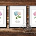 Virág festmény, Hortenzia kép, Print, falikép, Tavaszi dekor, kép, Húsvéti Dekor, Otthoni dekoráció, Dekoráció, Otthon, lakberendezés, Kép, A/4-es méretű Tavaszi Hortenzia nyomtatott kép, Print lap, 3DB saját design vízfesték virágok  250 g..., Meska