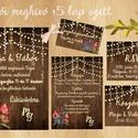 Vad Réti Virágos Esküvői meghívó, Pajta Esküvő, falu, Vintage Esküvői lap, vad virág, Rusztikus, Bohém, Esküvő, Naptár, képeslap, album, Meghívó, ültetőkártya, köszönőajándék, Esküvői dekoráció, Esküvői Vad Réti Virágos meghívó fényfüzér dekorral, Amerikai stílusú Egyedi Igényes Esküvői meghívó..., Meska