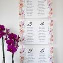 Ültetési rend, Esküvői Virágos Ültetésrend, Rózsás Virágos, Esküvő ültető kártya, rózsaszín, Party, Esküvő, Naptár, képeslap, album, Meghívó, ültetőkártya, köszönőajándék, Esküvői dekoráció, Esküvői Virágos Ültetési rend akár 12 asztalig is.  Gyönyörű Igényes Esküvői Ültetési rend, A4-es la..., Meska