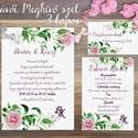 Esküvői meghívó, Rózsás Virágos Esküvői lap, Esküvő Képeslap, rózsa lap,  rózsaszín meghívó, Esküvő, Naptár, képeslap, album, Meghívó, ültetőkártya, köszönőajándék, Képeslap, levélpapír, Minőségi Virágos Esküvői  Meghívó  * MEGHÍVÓ CSOMAG BORÍTÉKKAL: - 1.  -Meghívó lap, egy oldalas: kb...., Meska