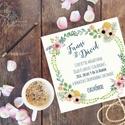 Vintage Esküvői meghívó,Rusztikus, Vintage meghívó, Rusztikus Esküvői lap, tavaszi, virágos meghívó, Esküvő, Naptár, képeslap, album, Meghívó, ültetőkártya, köszönőajándék, Képeslap, levélpapír, Fotó, grafika, rajz, illusztráció, Papírművészet, Rusztikus Virágos Igényes Esküvői meghívó lap, gyönyörű fényes borítékkal.  Hívd meg vendégeidet ez..., Meska