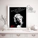 Marilyn Monroe, Falikép, Retro Poster, Retro kép, Amerikai, Vintage, Idézet, csók, Sexy, piros, vörös, modern, Dekoráció, Férfiaknak, Kép, Legénylakás, A4/-es méretű Marilyn Monroe Idézet, Retro Print  Retro motívációs dekoráció  250 gsm matt, vászon m..., Meska