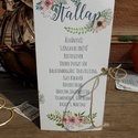 Esküvői Menü, Rusztikus Esküvő, Virágos Esküvői lap, Rusztikus, Vintage Esküvő, Virágos, Party menü, Esküvő, Naptár, képeslap, album, Meghívó, ültetőkártya, köszönőajándék, Esküvői dekoráció, Esküvői Rusztikus Natúr Álló Háromszög Menü Kötöző spárgával  Gyönyörű Igényes Rusztikus Esküvői Men..., Meska