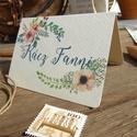 Esküvői ültetőkártya, rusztikus esküvő, party kártya, vintage wedding, Esküvői ültető, natúr, pajta, Esküvő, Naptár, képeslap, album, Meghívó, ültetőkártya, köszönőajándék, Esküvői dekoráció, Fotó, grafika, rajz, illusztráció, Papírművészet, Rusztikus Esküvői  ültetőkártya, Egyedi Igényes sátras, két oldalas asztali ültetőkártya  öszzehajt..., Meska