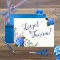 Tanú kérő lap, Esküvői meghívó, Kék Hortenzia, nyári virág, Esküvői lap, koszorúslány, Esküvő Képeslap, Esküvő, Naptár, képeslap, album, Meghívó, ültetőkártya, köszönőajándék, Képeslap, levélpapír, Festészet, Fotó, grafika, rajz, illusztráció, Esküvői meghívó, A/6-os Egyedi, Alkalmi, Igényes Esküvői, tanú kérő vagy koszorúslány lap, meghívó,..., Meska