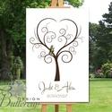 Ujjlenyomatfa, Esküvői fa, Esküvői ujjlenyomat fa, szerelmes madár pár, Rusztikus Esküvői dekor, Fa festmény, Esküvő, Esküvői dekoráció, Meghívó, ültetőkártya, köszönőajándék, Nászajándék, Fotó, grafika, rajz, illusztráció, Papírművészet, Esküvői ujjlenyomat fa feszített vásznon.  Mérete: kb. A2 (60x40cm)  Ez a vakrámára feszített, vász..., Meska