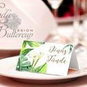 Esküvői ültetőkártya, meghívó, Zöld Virágos, Zöld Esküvői dekor, Nyári Esküvő, Kála, Esküvő, Naptár, képeslap, album, Meghívó, ültetőkártya, köszönőajándék, Esküvői dekoráció, Nyári Esküvői Zöld leveles ültetőkártya, Egyedi Igényes sátras, két oldalas asztali ültetőkártya  ös..., Meska