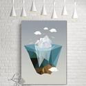 Modern Art, Háromszög kép, Modern dekoráció, Geometriai dekor, Geometriai formák, Absztrakt minta, absztrakt forma, Dekoráció, Otthon, lakberendezés, Kép, Falikép, Festészet, Fotó, grafika, rajz, illusztráció, A/2-es méretű Modern kép Geometriai mintával vászonra feszítve  Mérete: 60x40cm (Kicsivel kisebb mi..., Meska