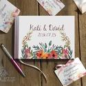 Rusztikus Esküvői Emlékkönyv, Őszi Virágos könyv, Vadvirág, Esküvői vendégkönyv, réti virág, Party, bohém, Esküvő, Naptár, képeslap, album, Esküvői dekoráció, Nászajándék, Esküvői Virágos A5-ös Emlékkönyv.  Gyönyörű Igényes Esküvői Emlékkönyv, A5-ös méret, 70 prémium lapo..., Meska