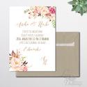 Vintage Esküvői meghívó, Nyári Esküvő, arany, elegáns, romantikus, virágos meghívó, rózsás, rusztikus, Esküvő, Naptár, képeslap, album, Meghívó, ültetőkártya, köszönőajándék, Képeslap, levélpapír, Minőségi Esküvői Meghívó, Rózsás Virágos, Rosegold  * MEGHÍVÓ CSOMAG BORÍTÉKKAL: - Meghívó egy lap, ..., Meska