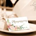 Esküvői ültetőkártya, rusztikus, elegáns esküvő, party kártya, vintage, Esküvői ültető, natúr, romantikus, Esküvő, Dekoráció, Meghívó, ültetőkártya, köszönőajándék, Esküvői dekoráció, Elegáns Vintage Virágos Esküvői  ültetőkártya, Egyedi Igényes sátras, két oldalas asztali ültetőkárt..., Meska