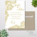 Csipkés Esküvői meghívó 1lapos + boírték, Elegáns meghívó, Vintage Esküvő, Arany, Csipke meghívó, Romantikus , Esküvő, Naptár, képeslap, album, Meghívó, ültetőkártya, köszönőajándék, Esküvői dekoráció, Minőségi  Esküvői  Meghívó  * MEGHÍVÓ CSOMAG BORÍTÉKKAL: - Meghívó egy lap, egy oldalas: kb.: 14cm x..., Meska