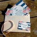 Nyári Elegáns Balatoni Esküvői meghívó, Nyári Esküvő, Tenger kék, virágok, virágos, balaton, Modern, Esküvő, Naptár, képeslap, album, Meghívó, ültetőkártya, köszönőajándék, Esküvői dekoráció, Minőségi Virágos Esküvői  Meghívó  * MEGHÍVÓ CSOMAG BORÍTÉKKAL: - 1.  Meghívó lap, egy oldalas: 10cm..., Meska