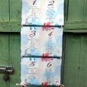 Nyári Esküvő, Ültetési rend, Esküvői Ültetésrend, Virágos, kék, Esküvő ültető kártya, Dekor, Party, Esküvő, Naptár, képeslap, album, Meghívó, ültetőkártya, köszönőajándék, Esküvői dekoráció, Nyári Esküvői Virágos Ültetési rend  Gyönyörű Igényes Esküvői Ültetési rend, A4-es lapok, szalaggal ..., Meska