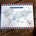 Modern Esküvői Emlékkönyv, Bohém könyv, térkép, repülő, Esküvői vendégkönyv, világ, Party, Esküvő, Naptár, képeslap, album, Nászajándék, Esküvői dekoráció, Utazós Repülős A5-ös Emlékkönyv.  Gyönyörű Igényes Esküvői Emlékkönyv, A5-ös méret, 70 prémium lapos..., Meska