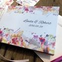 Romantikus, elegáns, Esküvői Emlékkönyv, Virágos könyv, Esküvői vendégkönyv, réti virág, Party, bohém, Esküvő, Naptár, képeslap, album, Nászajándék, Esküvői dekoráció, Esküvői Virágos A5-ös Emlékkönyv.  Gyönyörű Igényes Esküvői Emlékkönyv, A5-ös méret, 70 prémium lapo..., Meska