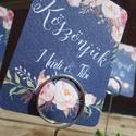 Esküvői ültető kártya fém dróttal, tartóval, köszönet kártya, köszönet ajándék, kövirózsa virág, Esküvő, Meghívó, ültetőkártya, köszönőajándék, Esküvői dekoráció, Nászajándék, Elegáns virágos Esküvői Ültető vagy köszönet kártya vendégeknek, fém tartóval, így könnyen kitehető,..., Meska