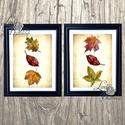 Őszi dekoráció, őszi falikép, őszi falevelek, levél festmény, őszi kép, levél falikép, dekor, tök , Dekoráció, Dísz, Kép, Ünnepi dekoráció, Őszi kép, Print, Nyomtatott lap, Keret nélkül A4-es méretben 2DB  Gyönyörű Őszi dekoráció koptatott ..., Meska