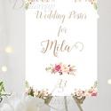 Esküvői Poszter A3, Esküvői kép, Esküvő Dekor, Esküvői felirat, Vintage, Elegáns, Virágos, Vendég, Esküvő, Dekoráció, Esküvői dekoráció, Kép, A/3-as Esküvői Poszter, bármilyen egyszerű felirattal, keret nélkül.  Tökéletes kellék & Dekor Elegá..., Meska