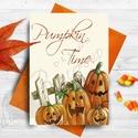 Halloween Képeslap, Halloween Üdvözlőlap, Őszi narancssárga lap, Otthon & lakás, Naptár, képeslap, album, Dekoráció, Képeslap, levélpapír, Kép, A/6-os méretű Halloween képeslap, borítékkal.   A6-os kinyitható üdvözlőlap, belül üres a saját kívá..., Meska