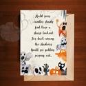 Halloween Képeslap, Halloween Üdvözlőlap, Őszi narancssárga lap, Naptár, képeslap, album, Dekoráció, Képeslap, levélpapír, Kép, A/6-os méretű Halloween képeslap, borítékkal.   A6-os kinyitható üdvözlőlap, belül üres a saját kívá..., Meska