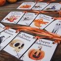 Halloween ajándék kártya, Halooween dekor, Kísérőkártya, Halloween party, képeslap, ajándékkísérő, Játék, Dekoráció, Naptár, képeslap, album, Társasjáték, Halloween Ajándék kísérőkártya 12 Darabos különféle mintákból álló csomag narancs szatén szalaggal. ..., Meska