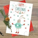 Karácsonyi Képeslap, Adventi Képeslap, Karácsonyi Nyuszi, Karácsonyi üdvözlőlap, Ünnepi képeslap , Naptár, képeslap, album, Dekoráció, Karácsonyi, adventi apróságok, Ajándékkísérő, képeslap, A/6-os méretű Igényes Egyedi Karácsonyi képeslap, piros borítékkal.  A saját magam által tervezett Ü..., Meska