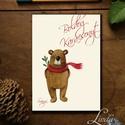 Karácsonyi Képeslap, Személyes, Névre szóló képeslap, Adventi kártya, Karácsonyi üdvözlőlap, Ünnepi, maci , Dekoráció, Ünnepi dekoráció, Karácsonyi, adventi apróságok, Ajándékkísérő, képeslap, A/6-os méretű Igényes kinyitható Egyedi Karácsonyi képeslap, borítékkal.  Névre szóló képeslap, kérl..., Meska
