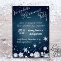 Karácsonyi Party Meghívó, Elegáns meghívó, Kari Buli, hópihe, hóesés, egyedi, karácsony, klasszikus, éj, kék, Dekoráció, Ünnepi dekoráció, Karácsonyi, adventi apróságok, Ajándékkísérő, képeslap, Fotó, grafika, rajz, illusztráció, Papírművészet, Elegáns Karácsonyi  Party meghívó  Hívd meg vendégeidet ezzel a gyönyörű egyedi meghívóval a Karács..., Meska