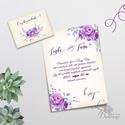 Elegáns Esküvői meghívó, Vintage Esküvő, Virágos, Lila virág, Lila esküvő, Levendula, Vintage Meghívó, tavaszi, nyári, Esküvő, Naptár, képeslap, album, Meghívó, ültetőkártya, köszönőajándék, Képeslap, levélpapír, Minőségi Virágos Esküvői  Meghívó  * MEGHÍVÓ CSOMAG BORÍTÉKKAL: - 1.  Meghívó lap, egy oldalas: 10cm..., Meska