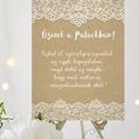 Esküvői Poszter A3, Esküvői kép, Esküvő Dekor, Esküvői felirat, Vintage, tábla, Csipke,Zsákvászon, üzenet a palackban, Esküvő, Dekoráció, Esküvői dekoráció, Kép, A/3-as Esküvői Poszter, bármilyen egyszerű felirattal, keret nélkül.  Tökéletes kellék & Dekor Elegá..., Meska