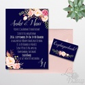 Elegáns Esküvői meghívó, Nyári Esküvő, Tenger kék meghívó, Barack virágok, nyári virágos meghívó, Modern, Esküvő, Naptár, képeslap, album, Meghívó, ültetőkártya, köszönőajándék, Képeslap, levélpapír, Minőségi Virágos Esküvői  Meghívó  * MEGHÍVÓ CSOMAG BORÍTÉKKAL: - 1.  Meghívó lap, egy oldalas: 10cm..., Meska
