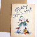 Hóemberes Csillogó Karácsonyi Képeslap, Adventi Képeslap, Vintage Karácsony,üdvözlőlap, Ünnepi lap, kártya, hóember, Minőségi Kinyitható Képeslap  * MÉRET: Félbe...