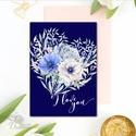 Köszönöm Képeslap, lap, Thank you, köszönet, üdvözlőlap, Köszönjük, Köszönet ajándék, virágos tavaszi, kék, virág, rózsa, Naptár, képeslap, album, Esküvő, Képeslap, levélpapír, Ajándékkísérő, A/6-os méretű Igényes Alkalmi Köszönet Üdvözlőlap  Add át köszönet-ajándékodat ezzel az igazán finom..., Meska
