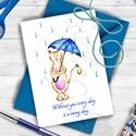 Valentin napi Képeslap, Szerelmes Képeslap, Valentin üdvözlőlap, I love you, Szeretlek, Cicás Üdvözlőlap, Naptár, képeslap, album, Férfiaknak, Esküvő, Képeslap, levélpapír, Festészet, Fotó, grafika, rajz, illusztráció, A/6-os méretű Aranyos Egyedi tervezésű Cica - Egér Alkalmi ajándék Üdvözlőlap, kék borítékkal.  'Wi..., Meska