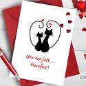 Szerelmes Képeslap, Szeretlek lap, Valentin napi üdvözlőlap, I love you, Szerelmes, piros lap, Cica, cicás lap, Férfiaknak, Naptár, képeslap, album, Esküvő, Szerelmeseknek, Képeslap, levélpapír, A/6-os méretű Aranyos Alkalmi Valentin napi Üdvözlőlap  Lepd meg szerelmedet, kedvesedet vagy bármel..., Meska