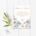 Pasztell Virágos Esküvői meghívó, Nyári Esküvő, rózsa, elegáns, romantikus, virágos meghívó, rózsás, barack, kövirózsa, Esküvő, Naptár, képeslap, album, Meghívó, ültetőkártya, köszönőajándék, Esküvői dekoráció, Minőségi  Esküvői  Meghívó  * MEGHÍVÓ CSOMAG BORÍTÉKKAL: - Meghívó egy lap, egy oldalas: kb.: 14cm x..., Meska