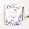 Kék Virágos Esküvői meghívó, Nyári Esküvő, rózsa, elegáns, romantikus, tavaszi, virágos meghívó, rózsás, pasztell, Esküvő, Naptár, képeslap, album, Meghívó, ültetőkártya, köszönőajándék, Esküvői dekoráció, Minőségi  Esküvői  Meghívó  * MEGHÍVÓ CSOMAG BORÍTÉKKAL: - Meghívó egy lap, egy oldalas: kb.: 14cm x..., Meska