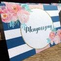 Esküvői ültető kártya, Elegáns, virágos ültető, hely, asztal, névkártya, Esküvői dekor, Virágos, Party, Esküvő, Naptár, képeslap, album, Meghívó, ültetőkártya, köszönőajándék, Esküvői dekoráció, Fotó, grafika, rajz, illusztráció, Papírművészet, Elegáns virágos Esküvői Ültető kártya.  öszzehajtva: 10.1x7.1cm  250 gsm matt, vászon-bordázott min..., Meska