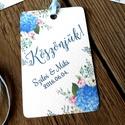 Esküvői képeslap, köszönet lap, köszönjük, Ajándékkísérő, köszönöm, kártya, virágos, kék hortenzia, Esküvő, Naptár, képeslap, album, Meghívó, ültetőkártya, köszönőajándék, Képeslap, levélpapír, Festészet, Fotó, grafika, rajz, illusztráció, Esküvői Köszönjük ajándékkísérő kártya szalaggal.  Add át köszönetedet ezzel az igényes ajándékkísé..., Meska