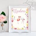 Babaszoba Dekoráció, Flamingó festmény, Virágos kép, virág falikép, állat, madár, Baba, gyerek,Gyerekszoba, Dekoráció, Baba-mama-gyerek, Gyerekszoba, Baba falikép, A/4-es méretű nyomtatott kép, Print lap.    250g matt, vászon mintájú kiváló minőségű tört-fehér írh..., Meska