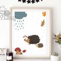 Babaszoba Falikép, Süni festmény, Gyerekszoba kép, dekoráció, erdei állat, sün, baba kép, baby, cuki, felhő, állatos, A/4-es Süni nyomtatott kép, Print lap.   Keret  ...