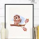 Babaszoba Falikép, Bagoly festmény, Gyerekszoba kép, dekoráció, erdei állat, madár, baba kép, baby, cuki, állatos, A4 Minőségi Print Lap, Nyomtatás  * KERET NÉLK...