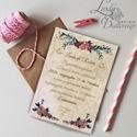 Vintage Esküvői meghívó, Vintage meghívó, rózsás Esküvői lap, lila virágos lap, rózsa meghívó, rusztikus, Esküvő, Naptár, képeslap, album, Meghívó, ültetőkártya, köszönőajándék, Képeslap, levélpapír, Minőségi  Esküvői  Meghívó  * MEGHÍVÓ CSOMAG BORÍTÉKKAL: - Meghívó egy lap, egy oldalas: kb.: 14cm x..., Meska
