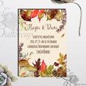 Őszi Esküvői meghívó, Rusztikus Esküvő, Vintage, Őszi meghívó, Esküvői képeslap, őszi levelek, Esküvő, Naptár, képeslap, album, Meghívó, ültetőkártya, köszönőajándék, Képeslap, levélpapír, Minőségi  Esküvői  Meghívó  * MEGHÍVÓ CSOMAG BORÍTÉKKAL: - Meghívó egy lap, egy oldalas: kb.: 14cm x..., Meska