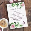 Esküvői meghívó, Rózsás Virágos Esküvői lap, Esküvő Képeslap, rózsa lap,  rózsaszín meghívó, Esküvő, Naptár, képeslap, album, Meghívó, ültetőkártya, köszönőajándék, Képeslap, levélpapír, Minőségi Virágos Esküvői  Meghívó  * MEGHÍVÓ CSOMAG: - Meghívó egy lap, egy oldalas: kb.: 14cm x 10c..., Meska