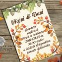 Őszi Esküvői meghívó, Rusztikus Esküvő, Vintage Esküvő, Bohém képeslap, Őszi Esküvő, őszi levelek, Esküvő, Naptár, képeslap, album, Meghívó, ültetőkártya, köszönőajándék, Képeslap, levélpapír, Minőségi  Esküvői  Meghívó  * MEGHÍVÓ CSOMAG BORÍTÉKKAL: - Meghívó egy lap, egy oldalas: kb.: 14cm x..., Meska