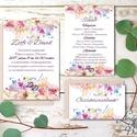 Esküvői meghívó, Virágos Esküvői lap, Esküvő Képeslap, rózsa lap,  rózsaszín meghívó, Esküvő, Naptár, képeslap, album, Meghívó, ültetőkártya, köszönőajándék, Képeslap, levélpapír, Minőségi Virágos Esküvői  Meghívó  * MEGHÍVÓ CSOMAG BORÍTÉKKAL: - 1.  -Meghívó lap, egy oldalas: kb...., Meska