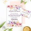 Esküvői meghívó, Virágos Esküvői lap, Esküvő Képeslap, rózsa lap,  rózsaszín meghívó, Esküvő, Naptár, képeslap, album, Meghívó, ültetőkártya, köszönőajándék, Képeslap, levélpapír, Minőségi Virágos Esküvői  Meghívó  * MEGHÍVÓ CSOMAG BORÍTÉKKAL: - 1.  Meghívó lap, egy oldalas: 10cm..., Meska